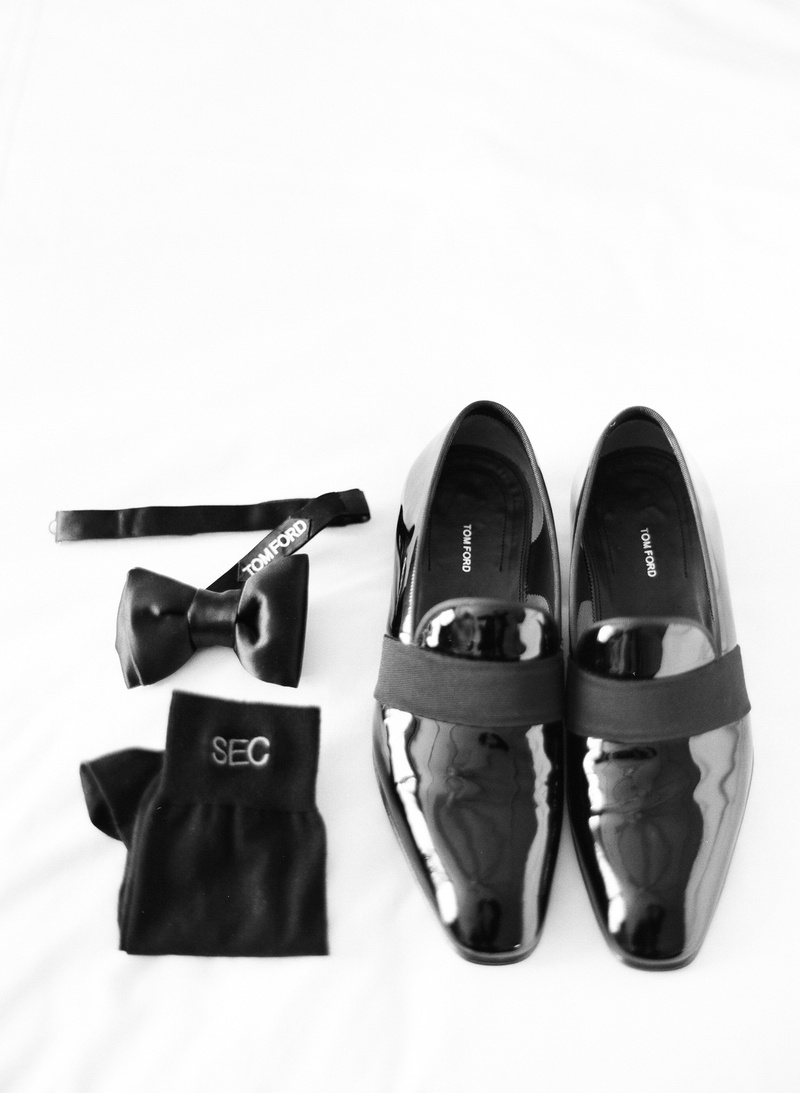 Tom Ford shoes and bow tie with monogram socks