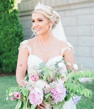bride in galia lahav dress, pearl necklace, tiara