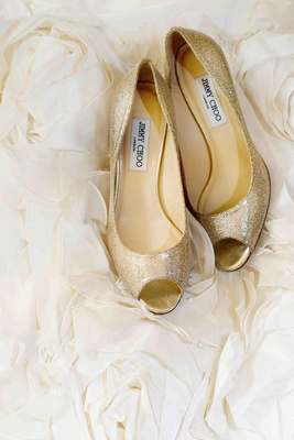 Glitter peep-toe Jimmy Choo pumps on rosettes