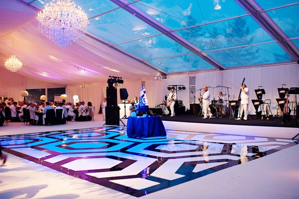 Custom black and white dance floor in hexagon pattern