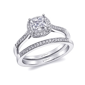 Romance collection ring and band with pave diamonds