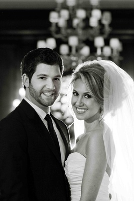Black and white portrait of couple on wedding day