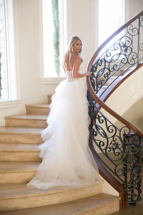 Amsale for Kenneth Pool wedding dress with tiers
