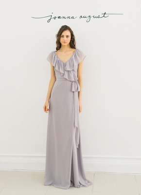 Joanna August 2016 long bridesmaid dress with ruffles and tie around waist in grey lavender