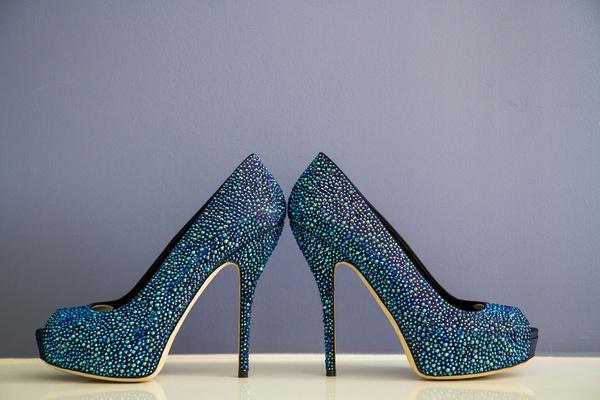 Blue sparkle Gucci peep toe wedding shoes.