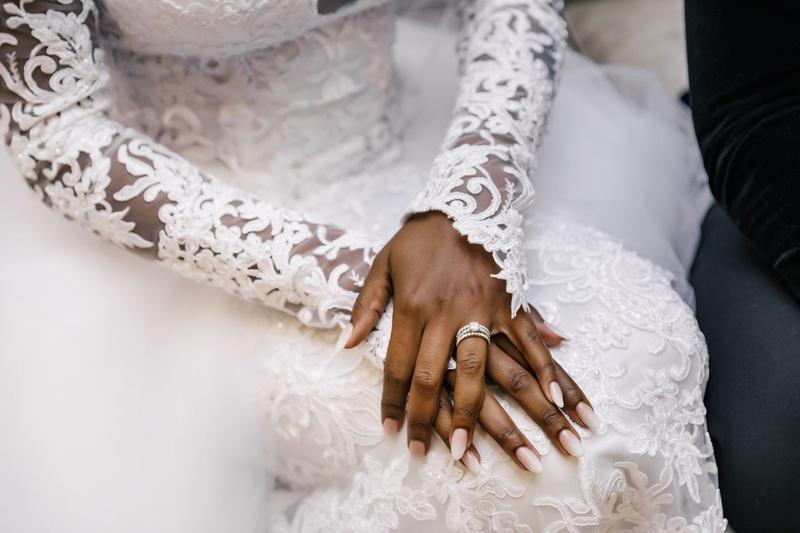 african american bride luxury wedding long sleeve wedding dress sheer illusion details embroidery