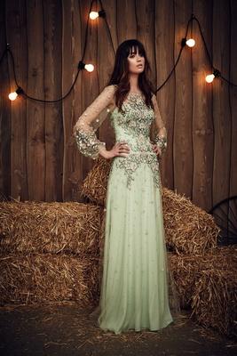 Jenny Packham green long sleeve wedding dress with flower print embellishments pink lime celadon