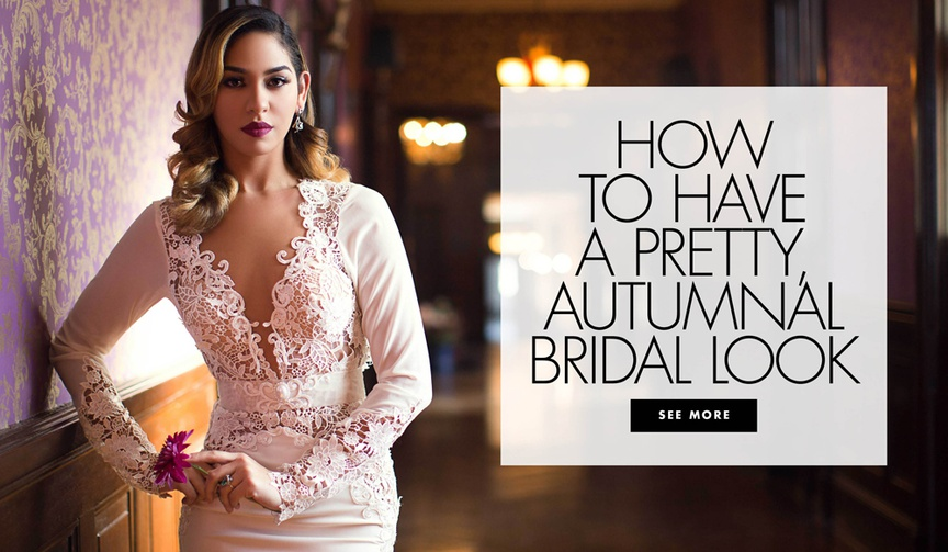 How to have a pretty autumnal bridal look wedding makeup and hair ideas
