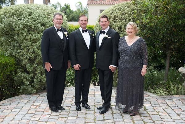 Grooms same sex wedding san diego with parents of groom