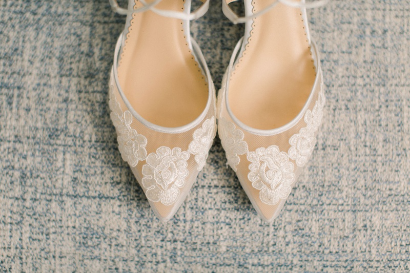 pointed toe bridal shoes with lace floral appliques
