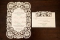 Winter wedding invitation with laser cut rose design