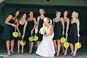 Bride with bridesmaids in spaghetti strap short dresses