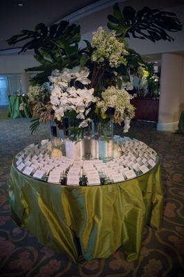 Green mirror table with orchids and jungle leaves