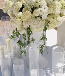 White flower arrangements at Joanna Krupa's wedding ceremony