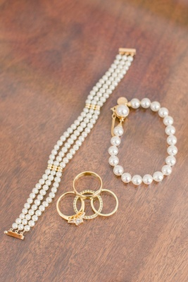 Three strand pearl bracelet gold hardware gold jewelry rings pearls