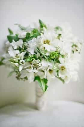 Star of Bethlehem flowers and greenery in bridal bouquet