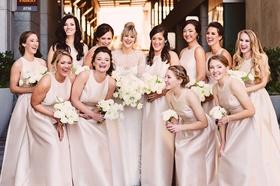 bride in monique lhuillier, bridesmaids in pale blush satin alfred sung