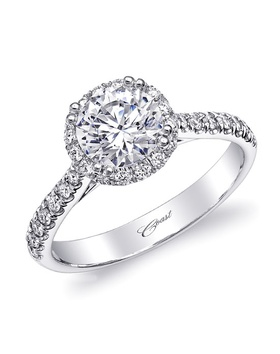 Charisma collection ring with diamond halo and shank