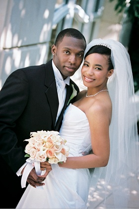 African-American newlyweds on wedding day