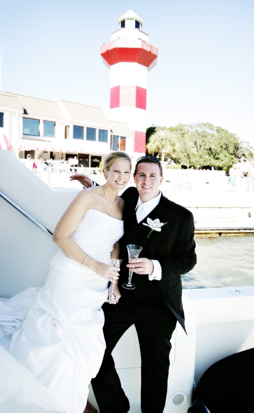 Couple drinking champagne on ferry boat