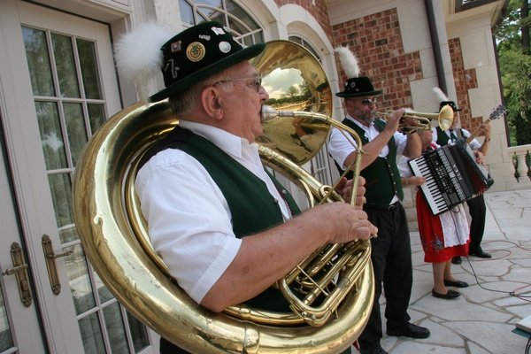 Bavarian band plays after wedding ceremony