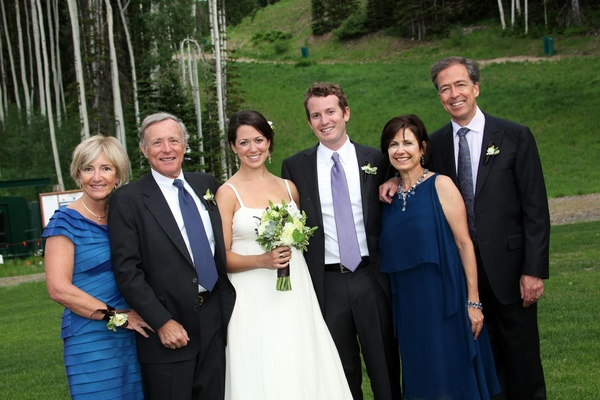 Bride and groom with parents in Deer Valley