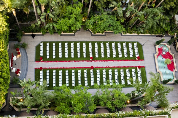 Four Seasons Hotel Los Angeles at Beverly Hills garden wedding bird's eye view red roses