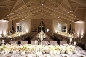 Vaulted ceiling space with long guest tables