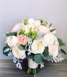 wedding bouquet garden rose white pink leaves greenery eucalyptus heatherlily bouquet