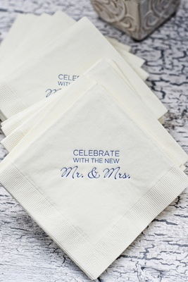 Beverage napkins with blue personalized print for wedding