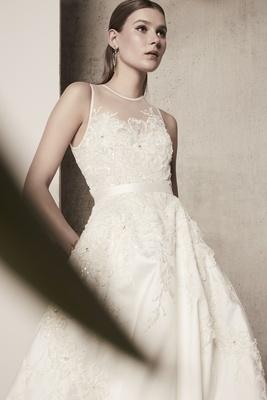 Elie Saab Spring/Summer 2018 A-line gown illusion neckline ribbon belt floral details