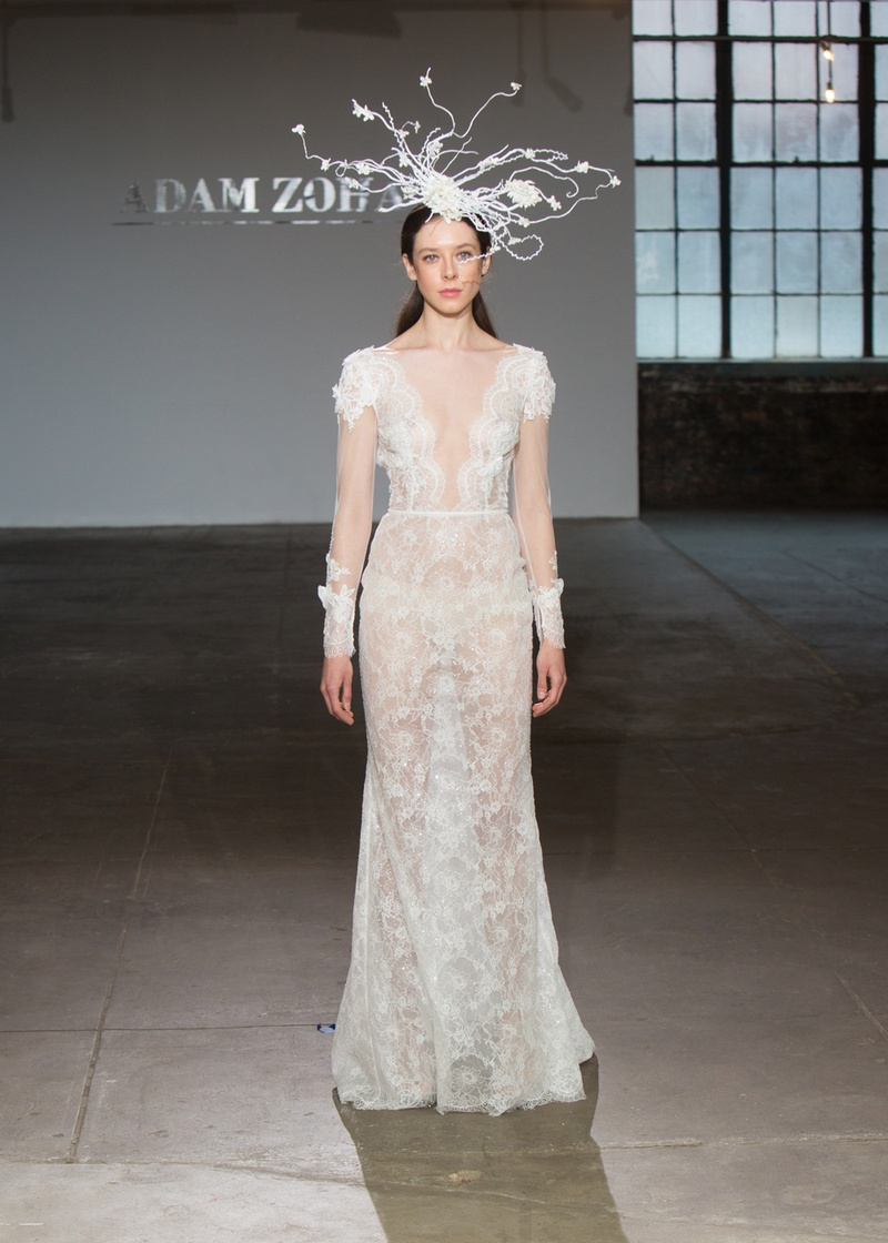 Loren by Adam Zohar Spring 2019, illusion long sleeves on sheer lace gown with plunging neckline