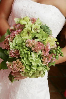 Wedding bouquet with hydrangea and orchid flowers