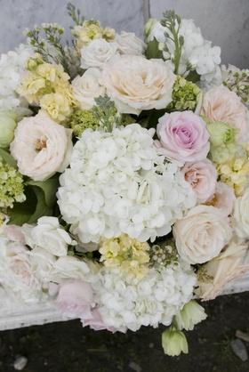 Hydrangea and rose summer flower centerpiece