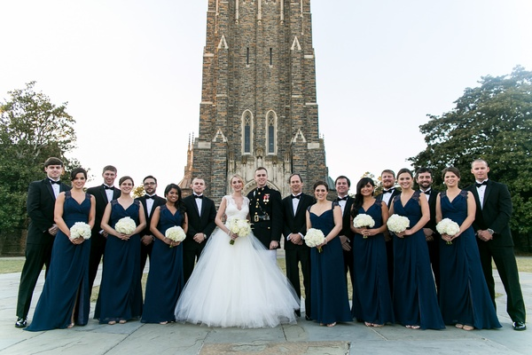 Bride and military groom with bridesmaids and groomsmen at Duke