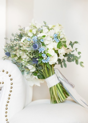 bridal bouquet with white flowers, thistle, and chinese forget-me-nots