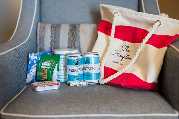 wedding welcome bag red white stripe tote rope handle montauk summer ale popcorn tates cookies mints