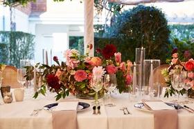 garden wedding centerpiece blue china napkin menu pink dahlia burgundy greenery leaves roses