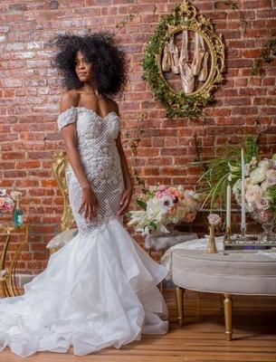 bride in pantora bridal off-the-shoulder mermaid dress, black bridal model with natural hair