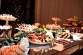 dessert and fruit bar, dessert display wedding reception treats