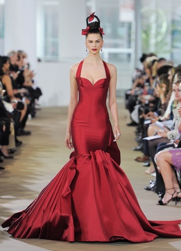 Ines di Santo Spring 2018 bridal collection Easton wedding dress halter neckline red trumpet dress