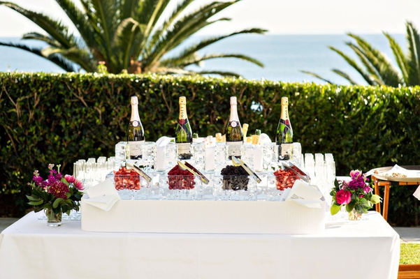wedding reception cocktail hour ocean view venue champagne with raspberry strawberry blackberry