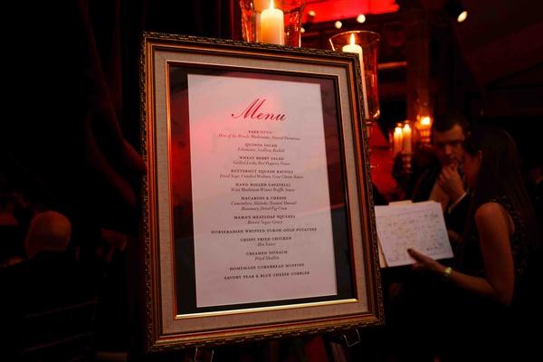 Wedding reception menu displayed in a frame