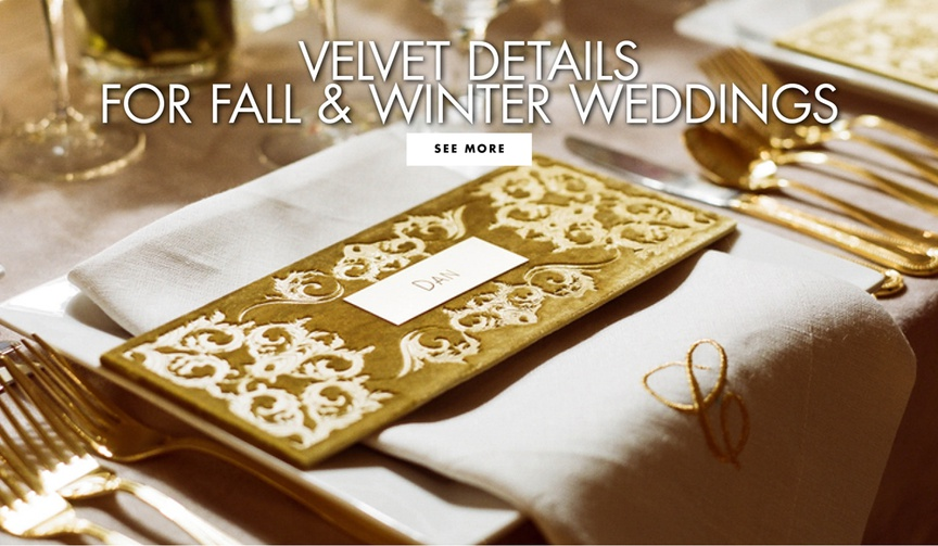 Velvet details for fall and winter weddings velvet wedding ideas
