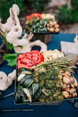 Organic wedding buffet with grilled vegetables