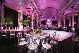 Wedding reception vibiana white dance floor purple lighting linens greenery centerpiece modern chair