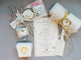 Welcome bag favors for destination wedding Wedding Itinerary with water bottle, luggage tag and more