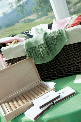 Wedding favors of pashmina scarves and cigars