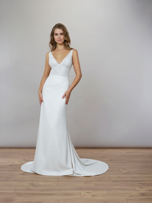 Liancarlo Spring 2020 bridal collection wedding dress v neck crepe gown chantilly lace sheath