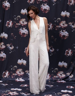 V-neck lace wedding jumpsuit by Ivy and Aster Fall 2016